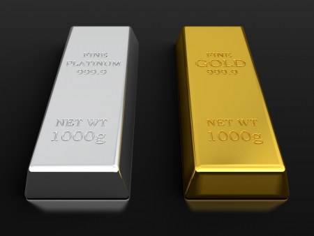 3d render of gold and platinum ingots isolated on black background photo