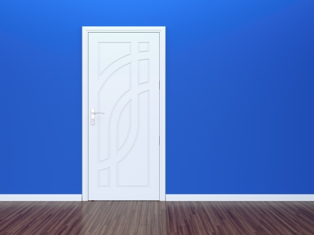 3D render of white door in blue wall, classic parquet photo