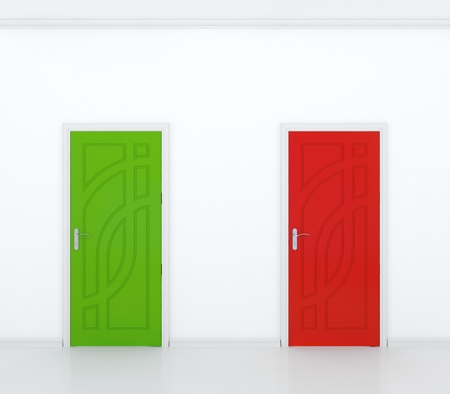 3D render of red and green door in white wall - contrast. Stock Photo - 14487204