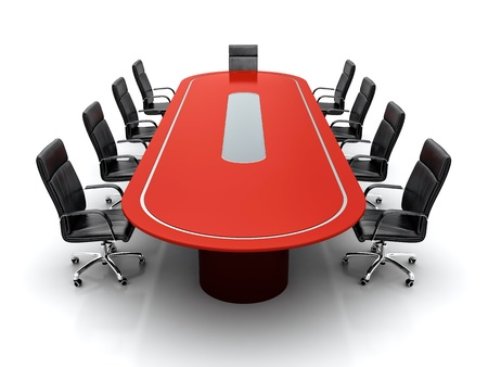 directors: 3D render of red conference table with black leather chairs on white background