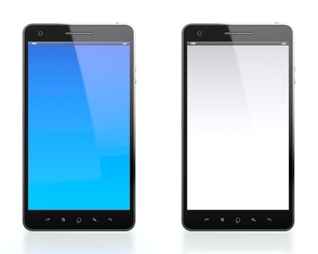 liquid crystal display: 3D illustration of two mobile phones one with blue blank screen and one with white blank screen on white background