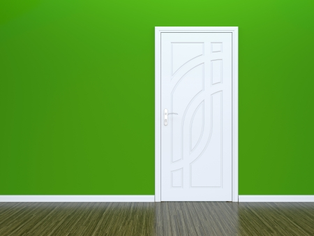 3D render of white door in green wall, classic parquet photo