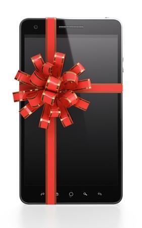 ruban noir: Illustration 3D de l'actuel t�l�phone portable avec le ruban rouge sur fond blanc Banque d'images