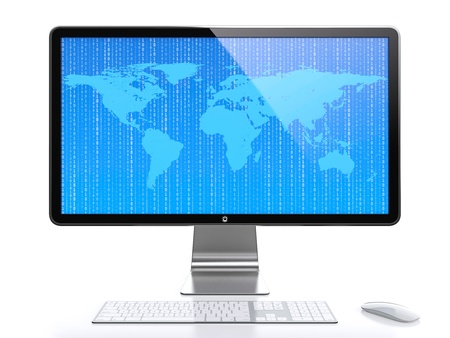 Computer monitor with World map and flying digits on screen isolated on white background Stock Photo
