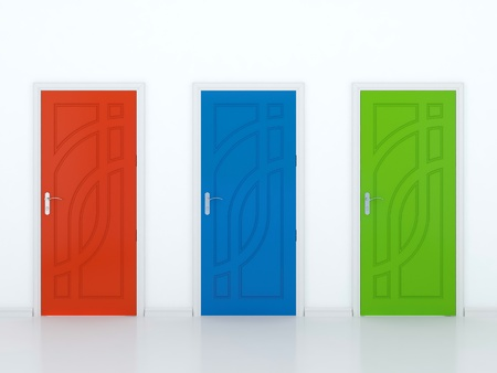 3D illustration of red green and blue doors in white wall Stock Illustration - 14517206