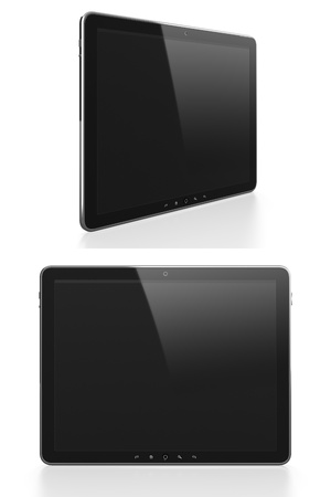 Tablet computer with black blank screen in different angles isolated on white background photo