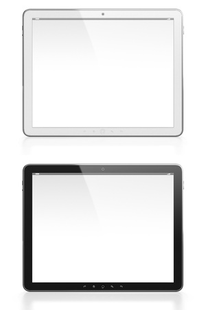 Two tablet computers with blank screen one white and one black isolated on white background photo