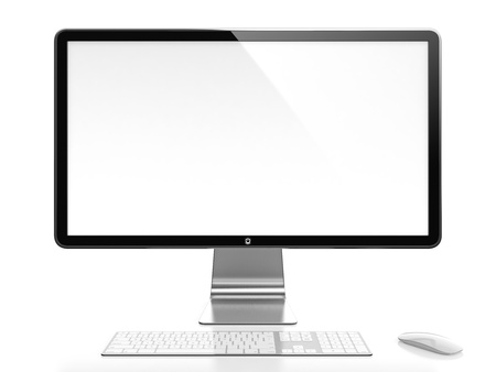 monitor de computador: Monitor de computador com tela branca em branco no fundo branco