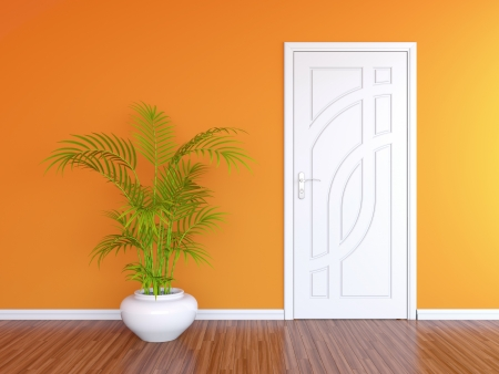 condominiums built: 3D render of white door in orange wall and decorative plant in white vase