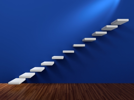 3D render of abstract white staircase in blue wall photo