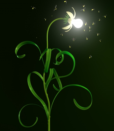 3D illustration of glowing in night light bulb flower and bugs flying around illustration