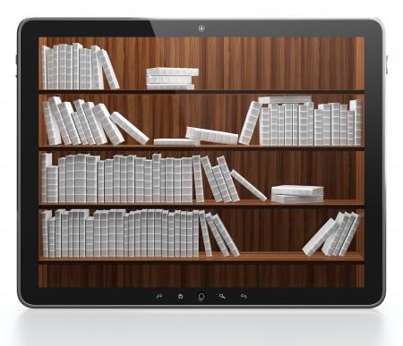 mensole: 3D illustrazione del concetto di biblioteca digitale Archivio Fotografico