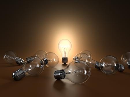 Illustrazione 3D di lampadine semplici isolato su sfondo arancione