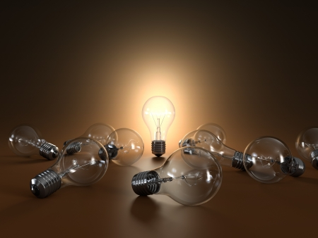 fluorescent light: 3D illustration of simple light bulbs isolated on orange background Stock Photo