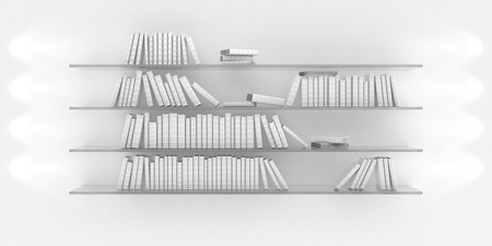 3d illustration of bookshelf illuminated by spotlights illustration