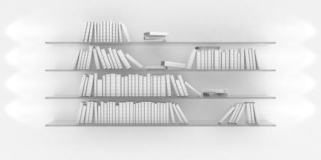 3d illustration of bookshelf illuminated by spotlights Stock Illustration - 14729018