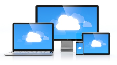 Cloud computing concept on different electronic devices photo