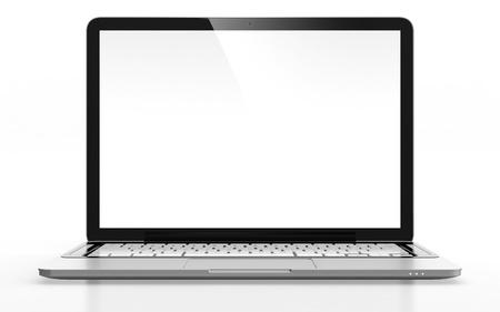 白で隔離される空白の画面で近代的なノート パソコンの 3 D イメージ