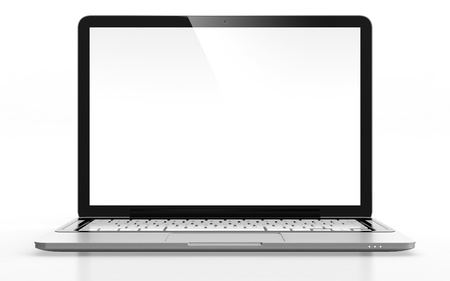 computer keyboard keys: 3D image of modern laptop with blank screen isolated on white