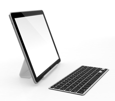 Tablet computer with white blank screen and keyboard isolated on white background photo