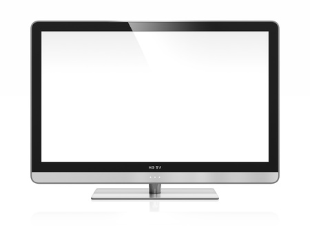 tv screen: 3D image of high definition TV isolated on white Stock Photo