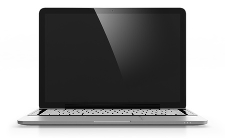 3D image of modern laptop with black screen isolated on white photo