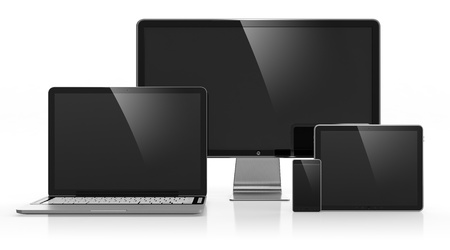 mobile device: 3D illustration of electronic devices isolated on white Stock Photo