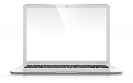 3D image of modern laptop with blank screen isolated on white