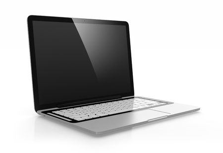 trackpad: 3D image of modern laptop with black screen isolated on white