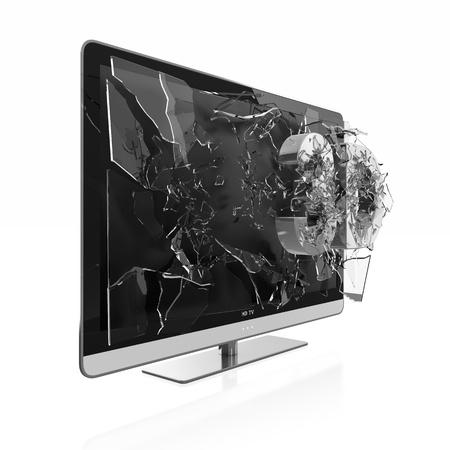 Illustration of 3D text breaking TV screen. Stereoscopic TV. illustration