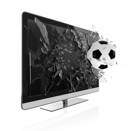 3D illustration of soccer ball breaking TV screen. Stereoscopic TV. Stock Photo