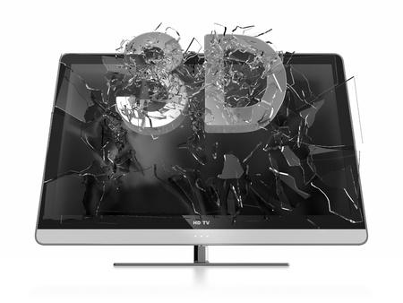 stereoscopic: Illustration of 3D text breaking TV screen. Stereoscopic TV.