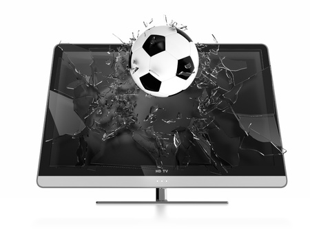 3D illustration of soccer ball breaking TV screen. Stereoscopic TV. illustration