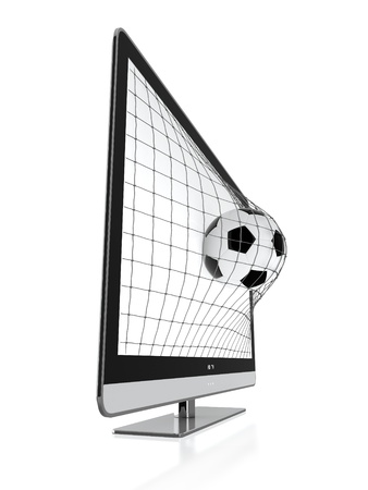3D illustration of soccer ball and stereoscopic TV isolated on white illustration
