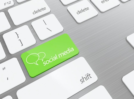 3D illustration of green social media button on keyboard illustration