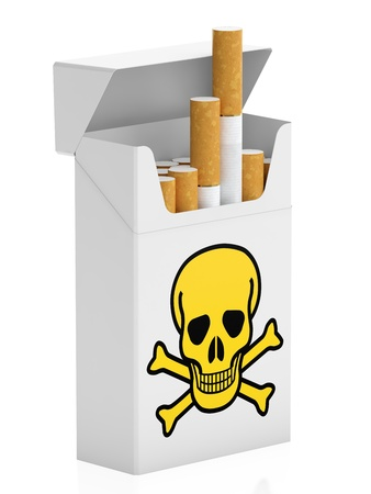 living skull: Pack of cigarettes isolated on white background
