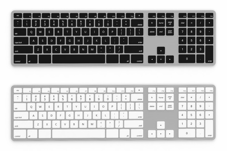 3D render of black and white keyboard isolated on white background photo