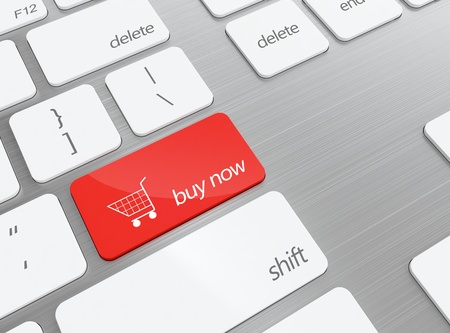 3D illustratie van toetsenbord met rode winkelen knop