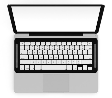 3D image of modern laptop with blank screen isolated on white photo