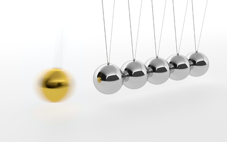 3D illustration of Newtons cradle with one golden ball isolated on white illustration
