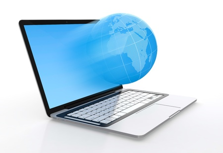 3D image of modern laptop and globe flying from screen isolated on white background Stock Photo - 14952165
