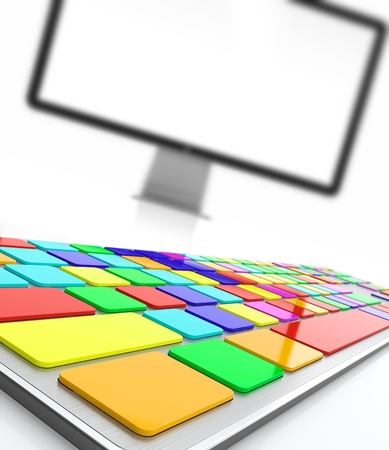 Keyboard with colored buttons and computer screen on background Stock Photo - 14952166
