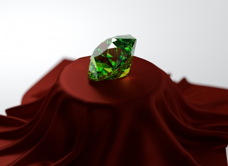 3D illustration of emerald on red velvet illustration