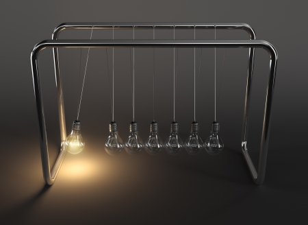 newton cradle: 3d illustration of hanging light bulbs in perpetual motion with one glowing light bulb on dark background