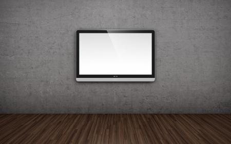 mounted: 3D illustratie van lege ruimte met tv-scherm aan de muur