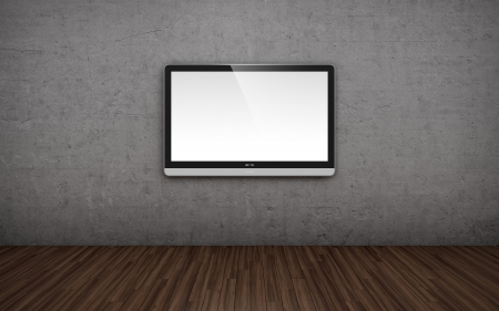 visual screen: 3D illustration of empty room with TV screen on the wall