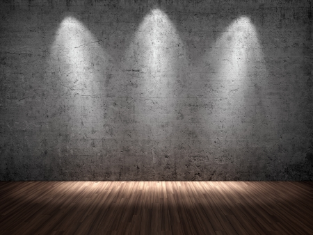 empty stage: 3D illustration of three spotlights on concrete wall