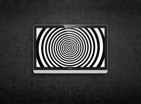 3D illustration of TV on the wall with spiral on screen illustration