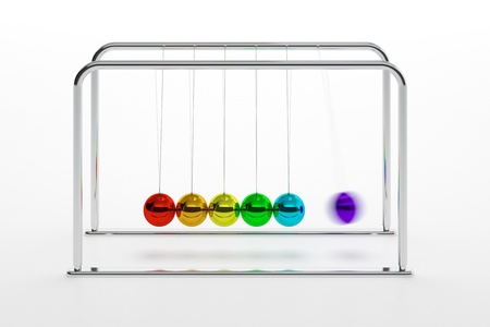 isaac newton: 3D illustration of Newtons cradle with colored balls isolated on white Stock Photo