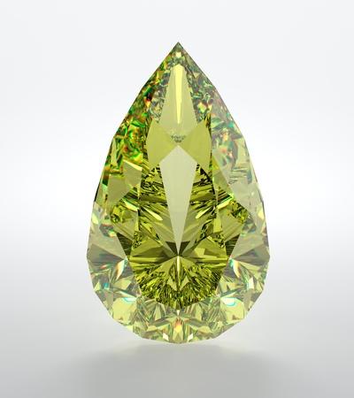 piedras preciosas: Ilustraci�n 3D de diamante amarillo aislado sobre fondo blanco